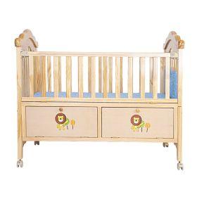 Baby Moo-Wooden Lion Brown Cradle