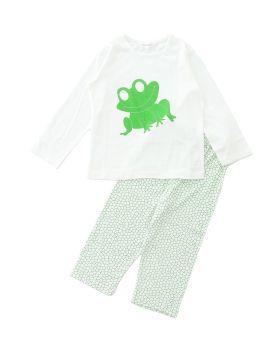 Funkrafts Clothing - Kids Full Sleeves T-shirt and Bottom Nightsuit Animal Print - Green & White