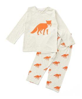 Funkrafts Clothing - Kids Full Sleeves Night Suit Fox Print - Off White