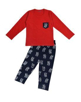 Funkrafts Boys Full Sleeves Night Suit Animal Print - Red & Navy Blue