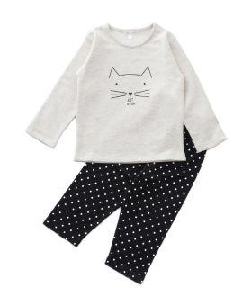 Funkrafts Kids Full Sleeves Cotton and Fleece Night Suit Just Kitten Print - Off White Black