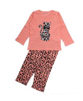 Funkrafts Clothing - Kids Full Sleeves Night Suit Kitten Print - Coral