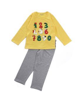 Funkrafts Clothing - Kids Full Sleeves Night Suit Numbers Print - Yellow Grey