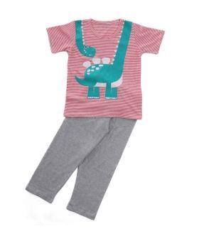 Funkrafts Clothing - Boys Half Sleeves Night Suit Little Dinosaur Print - Multicolor