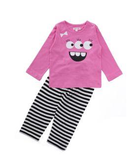Funkrafts Clothing - Kids Full Sleeves Night Suit Monster Eyes Print - Pink