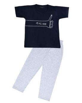 Funkrafts Boys Half Sleeves T-shirt and Bottom Nightsuit Slogan Print - Navy Blue & Grey
