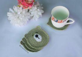 Plum Tales-Handcrafted Amigurumi Bear Coasters - Set of 4 - Olive Green