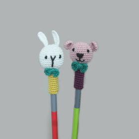 Plum Tales-Handcrafted Amigurumi Random Color Pencil Topper - 2 Bunny + 2 Bear combo