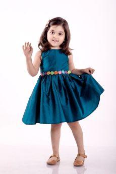 Jelly Jones-Turq. Sleeveless Flower Belt Dress