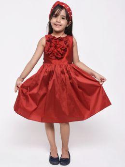 Jelly Jones Maroon Flower Applique Dress