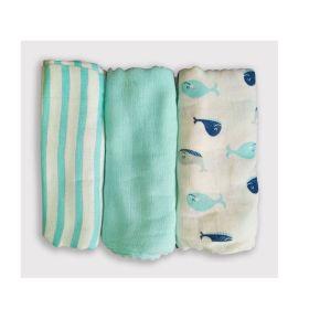 Kindermum Kinder Blue muslin Flats/squares (set of 3)