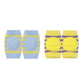Baby Moo-Striped Yellow, Blue 2 Pk Baby Cushioned Kneepad