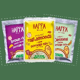 HappaFoods-Trial Pack of Porridges (Ragi Porridge + Oatmeal Porridge + Brown Rice Porridge), 50 Gram Each , 6 month +