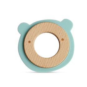 Little Rawr Wood + Silicone Disc Teether- BEAR