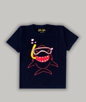 Little labs happy shark print half sleeves - Black