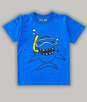 Little labs happy shark print half sleeves - Blue