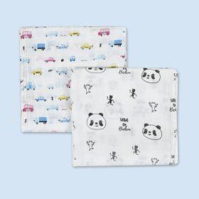 Baby Moo-Pandas And Cars  Multicolour 2 Pk Muslin Swaddle