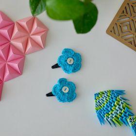 Neemboo Crochet Clips Pair - Blue