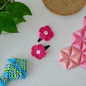 Neemboo Crochet Clips Pair - Pink
