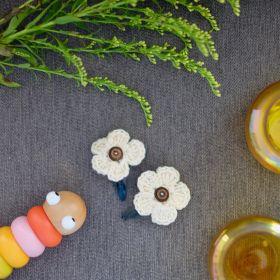 Neemboo Crochet Clips Pair - White