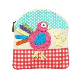 Happy Threads-Pretty Cotton Storage Pouch with Birds Motif (Multicolour)
