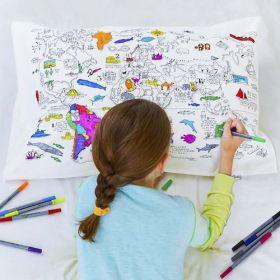 Pink Parrot Kids-world map pillowcase