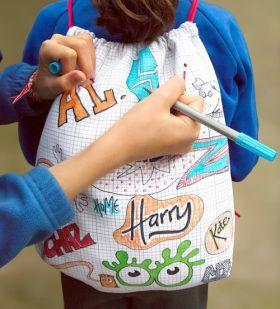 Pink Parrot Kids-doodle notebook backpack