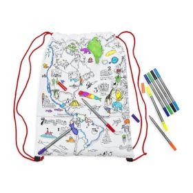 Pink Parrot Kids-world map backpack