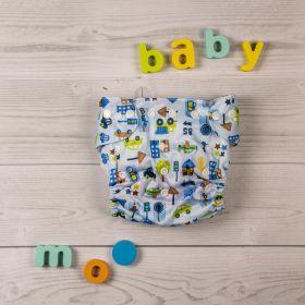 Baby Moo-Wanderlust Blue Adjustable & Washable Diaper