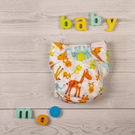Baby Moo-I Love Animals Yellow Adjustable & Washable Diaper
