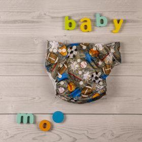 Baby Moo-Athlete Grey Adjustable & Washable Diaper
