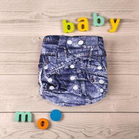 Baby Moo-Denim Print Blue Adjustable & Washable Diaper