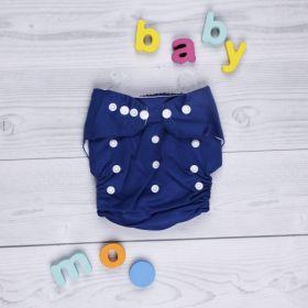Baby Moo-Plain Blue Adjustable & Washable Diaper
