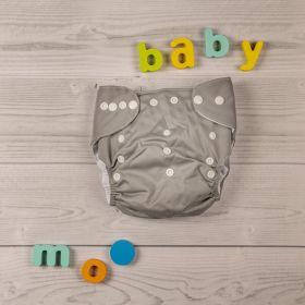 Baby Moo-Plain Grey Adjustable & Washable Diaper