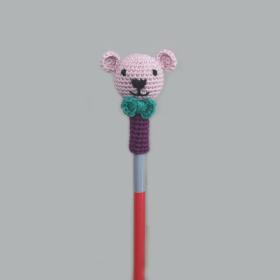 Plum Tales-Set of 6 Handcrafted Amigurumi Pencil Topper Bear _Random Color