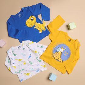 Kicks & Crawl- Snuggly Dino Long Sleeves Tshirt - Pack of 3
