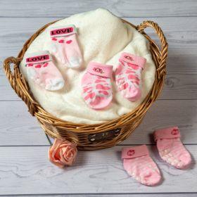 Baby Moo-Abstract Pink Anti-Skid 3 Pk Socks