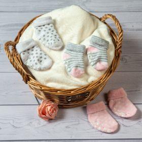 Baby Moo-Striped Pink Anti-Skid 3 Pk Socks