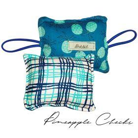 Bobtail-The Cushy Closer Door Cushion- BLUE FLORAL WITH CHECKS