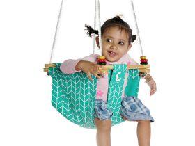 CuddlyCoo-Toddler Swing - Sea Green Zig Zag