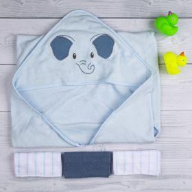 Baby Moo-Elephant Blue Towel & Wash Cloth Set