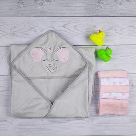 Baby Moo-Elephant Grey and Pink Towel & Wash Cloth Set