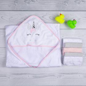 Baby Moo-Whimsical Unicorn White Towel & Wash Cloth Set