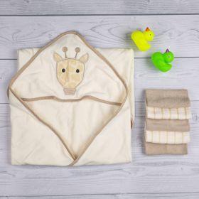 Baby Moo-Giraffe Beige Towel & Wash Cloth Set