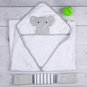 Baby Moo-Elephant Grey Towel & Wash Cloth Set