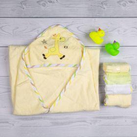 Baby Moo-Giraffe Yellow Applique Hooded Towel & Wash Cloth Set