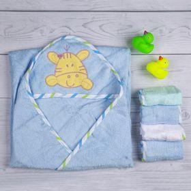 Baby Moo-Tiger Blue Applique Hooded Towel & Wash Cloth Set