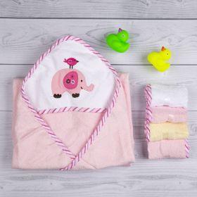 Baby Moo-Elephant Pink Applique Hooded Towel & Wash Cloth Set