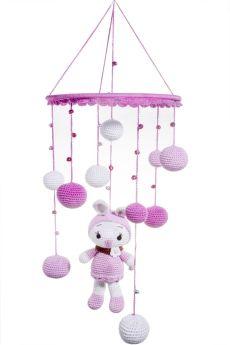 Happy Threads-Dolls Design Crochet Crochet Wind Chimes for Home( Purple & White)