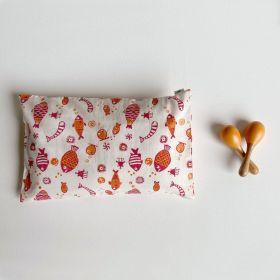 whitewater kids gift set - organic fish print kapok pillow + maracas